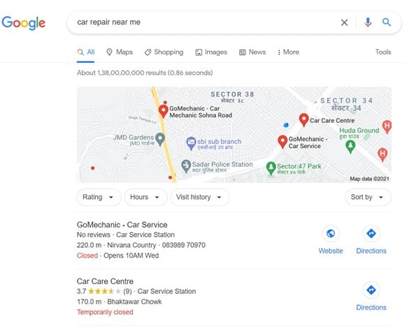 Local SEO Results on Google SERP